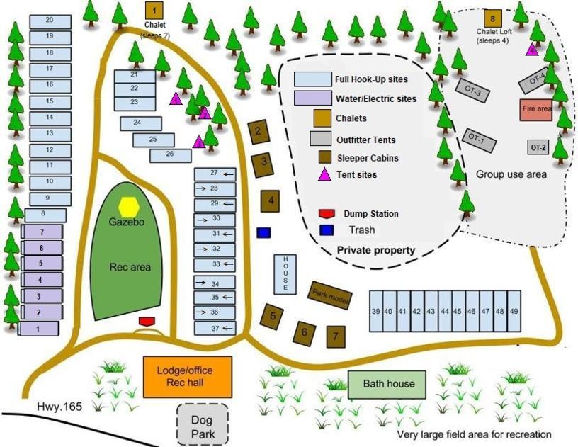 Aspen Acres Campground Map - Rye Colorado