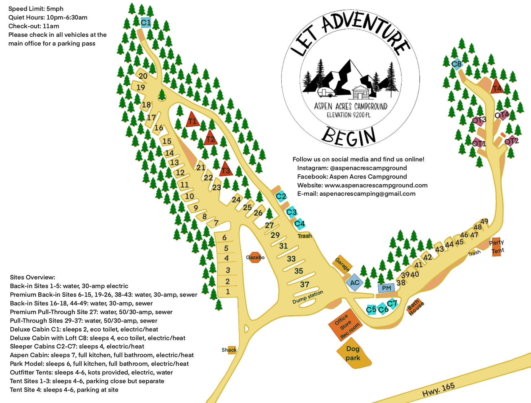 Aspen Acres Campground - Campground Map